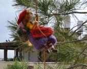 Needle Felted Waldorf  Wool Mobile. Climbing Girl-Gnome.  Ready to ship