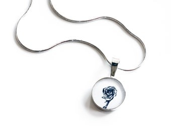 Small black and white rose pendant in sterling silver with my hand drawn mini rose artwork set behind resin , everyday flower necklace