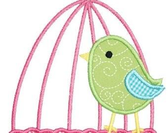 397 Bird Cage Machine Embroidery Applique Design