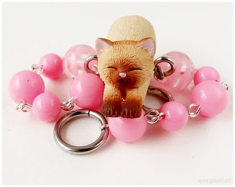 Cat Bracelet, Beaded Chain, Bubblegum Pink, Silver Tone - Kawaii Jewelry, Figurine