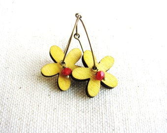 Flower Button Earrings Hoops Sleeper Hoops Yellow Wood Bead Red Beads Garden Nature Botanical Jewelry Lightweight Simple Design Minimalist