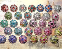 28mm Rhinestone Button Qty 5