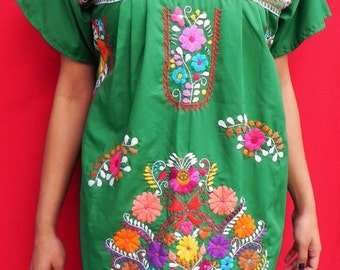 Mexican Green Mini Dress Colorful Vtg Tunic Floral Embroidered Handmade Elegant Medium