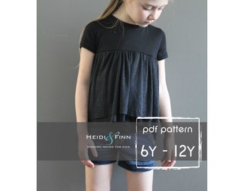 Ballon Top pattern and tutorial 6y -12y chiffon ballet tee shirt blouse PDF