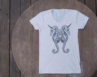 Seahorse Tshirt / Sea Unicorn Design / Steam Punk T-Shirt American Apparel Oatmeal / Off White Tee for Women