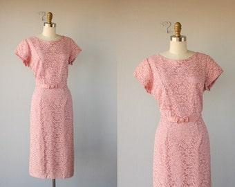 Vintage 50s Dress | 1950s Dress | 50s Wiggle Dress | Lace Cocktail Dress | Pink Lace Dress 50s