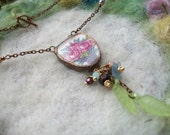 Broken China Necklace, Three roses in a Basket, Recycled Broken China, Handmade Bezel