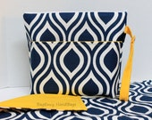 Large Zippered Diaper Clutch and Changing Mat Travel Set - Attach to Stroller - Navy Blue Modern Drop and Yellow or Design Your Own