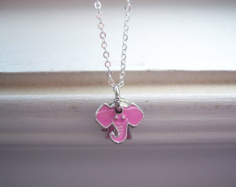 Elephant Necklace -Pink Elephant Necklace - Free Gift With Purchase