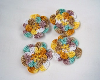 Appliques hand crocheted flowers set of 4 variegated color cotton 1.5 inch