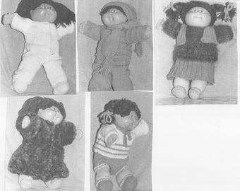 Doll Clothes Knitting Pattern For Cabbage Patch Doll 5 Winter Outfits PDF Instant Download