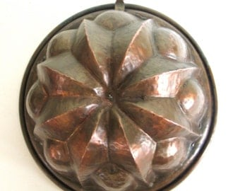 Copper Baking/Dessert Moulds/Molds Heavy Gauge Lined in Zinc Kitchen Decor
