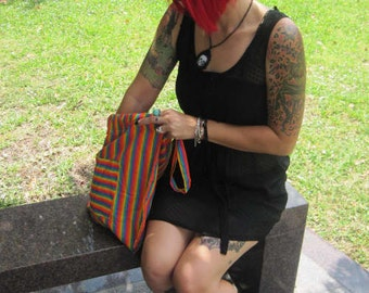 OOAK tote backpack drawstring pouch purse stripes rainbow handbag recycled bag