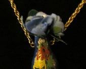 Tiny Blue Cloisonne Vase  Necklace