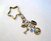 Must Love Dogs - Bronze Dog Bone Bowl Paw Sapphire Swarovski Crystal Charmed Keychain