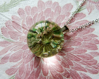 REAL Queen Anne's Lace Ball - Pale Green Flower Necklace - Crystal Clear Globe Pendant - Sterling Silver Chain - Choice of Chain Length