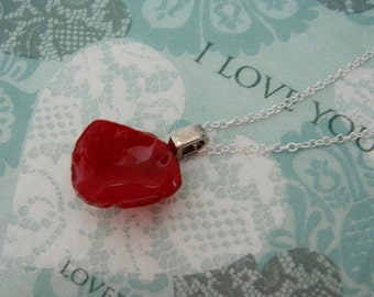 REAL Rose Flower Petal Pendant - Bright Red Rose Petal Necklace - Choose Sterling Silver Chain Length