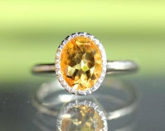 Golden Citrine Sterling Silver Ring, Gemstone Ring, Milgrain Details In No Nickel / Nickel Free - Made To Order