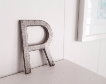YOU CHOOSE letter cast iron metal painted industrial metallic R