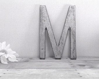 Letter M - iron painted letter - wall decor - metallic silver