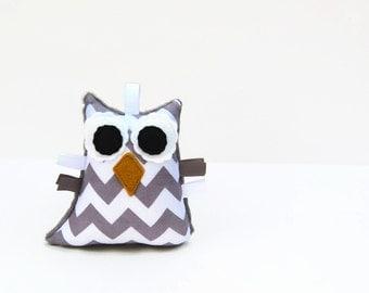 Chevron Owl Rattle Plush Baby Toy Stuffed Animal Gray White