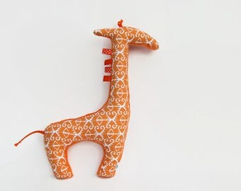 Stuffed Animal Plush Giraffe Softie Orange Ikat Ready to Ship