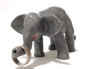 Elephant Ring Holder, Hand-Built Elephant Pottery, Elephant Cake Topper