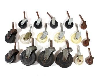 Set of 17 Vintage Caster Wheels