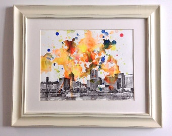 Portland Oregon Cityscape Skyline Landscape Painting - Original 8.5 X 11 in. Abstract Skyline Watercolor Painting