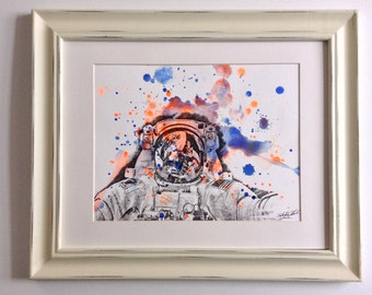 Astronaut Portrait Original Watercolor Painting Great for Kids Room Wall Art and Of Course Every Space Lover