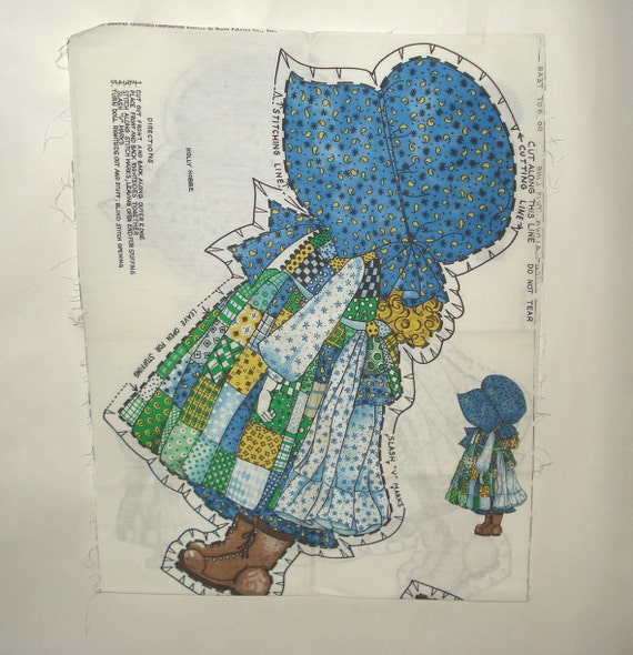 Vintage Holly Hobbie Stuffed Doll Fabric Craft Panel By Anawho