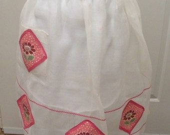 Vintage White Sheer Half Apron with Pink Flowers