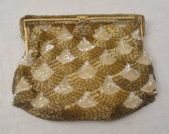 Vintage France Gold & Silver Sequined Beaded Evening Bag