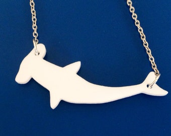 Shark Necklace, Hammerhead Shark in White Lasercut Acrylic, Animal Shape Jewelry, Shark Jewelry