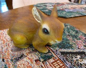 Vintage Bunny Rabbit Brown Figurine  Golden Brown Ceramic Rabbit Collectible