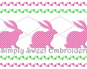 Easter Bunny Faux Smocking Machine Embroidery Design