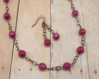 Necklace and Earring Set - Fuchsia Pink Jade with Gunmetal