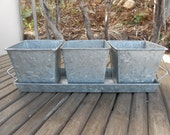 Rustic Galvanized Tin 4 Piece Centerpiece Planter, Great For Barn Wedding, Rustic,Planting Succulents, Herb Pots