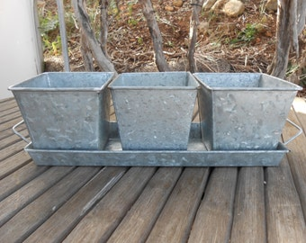Rustic Tin 4 Piece Centerpiece Planter, Succulent Planter, Barn Wedding, Rustic,Planting Succulents, Herb Pots