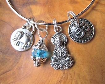 Buddha - Karma-  Bangle Bracelet with Buddha, Om, Lucky Elephant and Turquoise Crystal - Buddhism, Yoga Jewelry