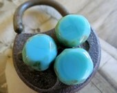 SALE Chunky Turquoise . Czech Picasso Chunky Glass Beads  (6) 12 mm by 12 mm