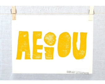 AEIOU, Grammer, Grammatical Typography, Typographic Print, English, Vowels, Grammatical,  Wall Art, Teacher Gift