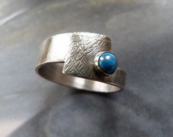 Turquoise Sterling silver ring, handcrafted ring, textured metalwork ring, OOAK jewelry