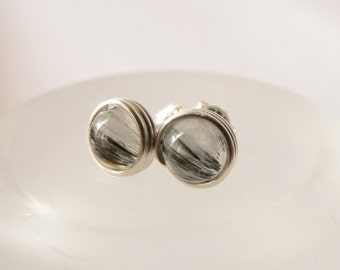 Rutilated quartz Post Earrings, Wire Wrapped in Sterling Silver, Stud Earrings, Studs