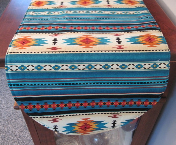 southwestern table runner 36 inch reversible by tracystreasuresri. Black Bedroom Furniture Sets. Home Design Ideas