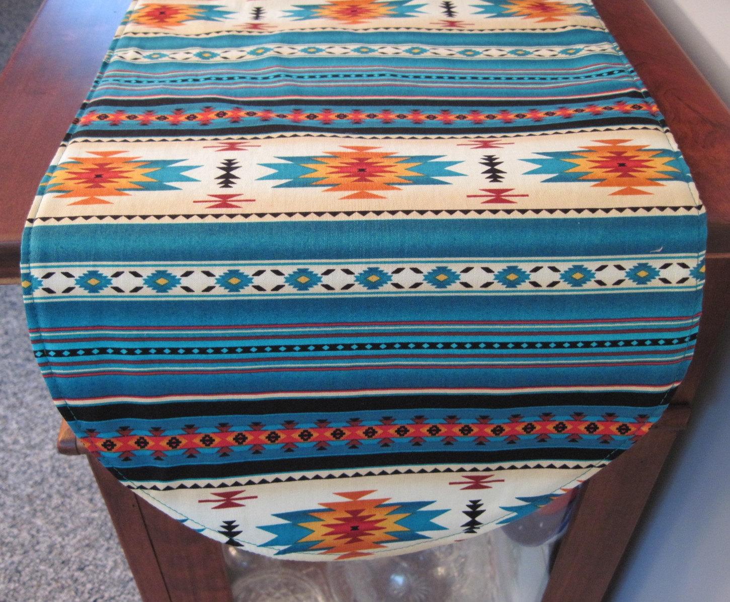 southwestern table runner 36 inch reversible by tracystreasuresri. Black Bedroom Furniture Sets. Home Design Ideas