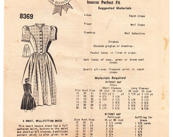Vintage 1940s Anne Adams 8369 Sewing Pattern Misses' One-Piece Dress Size 14 Bust 32