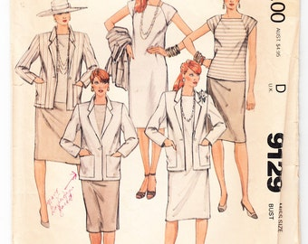 Classic 1984 McCall's 9129 Sewing Pattern Misses' Jacket, Dress and Skirt Size 14 Bust 36