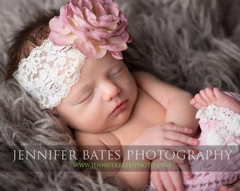 Dusty Rose Headband- Baby Girl Headband- Baby Girl Hair Accessories- Rose Headband- Flower Headband- Lace Headband- Newborn- Infant- Toddler