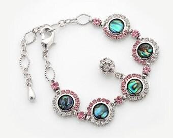 Mother of Pearl Flower Circle Design Cubic Zirconia Rhinestone Ball Dangle Colorful Dark Green Blue Circle Shell Link Bracelet
